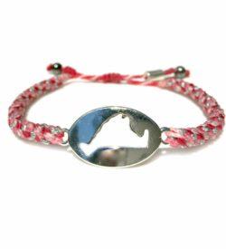 Martha's Vineyard Bracelet Island Map Pink Rope: RUMI SUMAQ Jewelry Handmade on MV