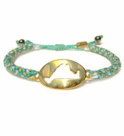 Martha's Vineyard Bracelet Island Map Aqua Gold Rope: RUMI SUMAQ Jewelry Handmade on MV