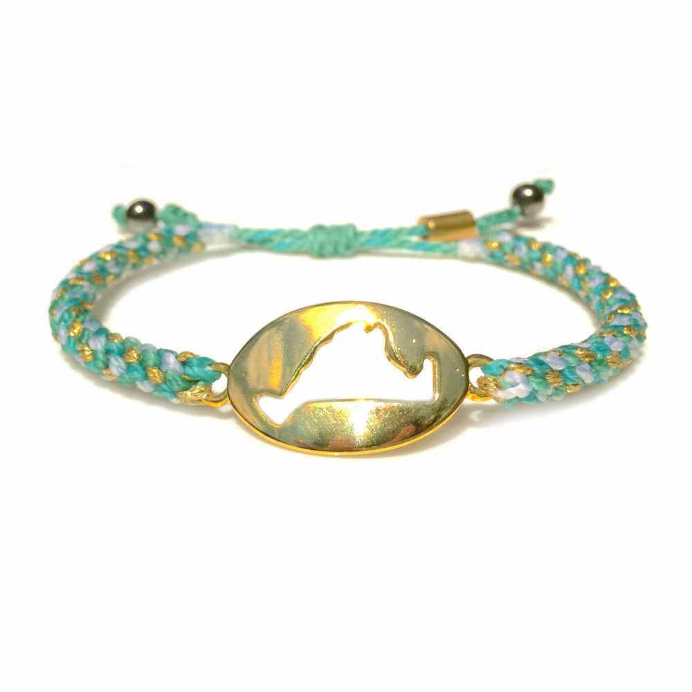 Martha's Vineyard Bracelet Island Map Aqua Gold Rope: RUMI SUMAQ Jewelry Handmade on MV