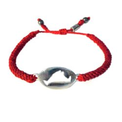 Martha's Vineyard Bracelet Red Rope with Island Map by RUMI SUMAQ