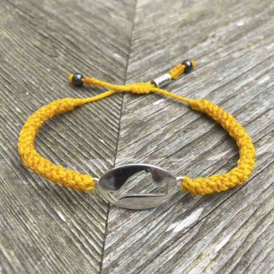 Martha's Vineyard bracelet yellow rope with MV island map by designer Coco Paniora Salinas of RUMI SUMAQ. Handmade on Martha's Vineyard.