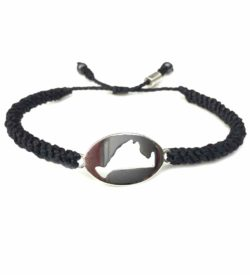 Martha's Vineyard island map bracelet black rope: Handmade on Martha's Vineyard by designer Coco Paniora Salinas of Rumi Sumaq Jewelry