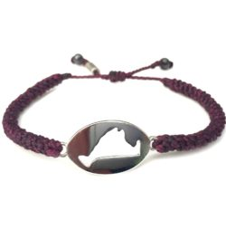 Martha's Vineyard island map bracelet plum purple rope: Hand-knotted surfer and sailor bracelets handmade on the beautiful island of Martha's Vineyard