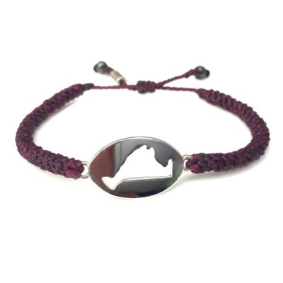 Martha's Vineyard island map bracelet plum purple rope: Hand-knotted surfer and sailor bracelets handmade on the beautiful island of Martha's Vineyard