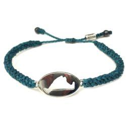 Martha's Vineyard island map bracelet turquoise rope: Handmade on Martha's Vineyard by designer Coco Paniora Salinas of Rumi Sumaq Jewelry