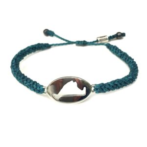 Martha's Vineyard island map bracelet turquoise rope: Handmade on Martha's Vineyard by designer Coco Paniora Salinas of Rumi Sumaq Jewelry