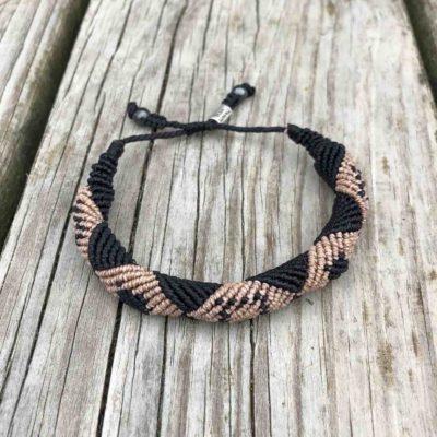 Mens Macrame Bracelet Black and Tan | RUMI SUMAQ Mens Nautical Jewelry Handmade on Martha's Vineyard