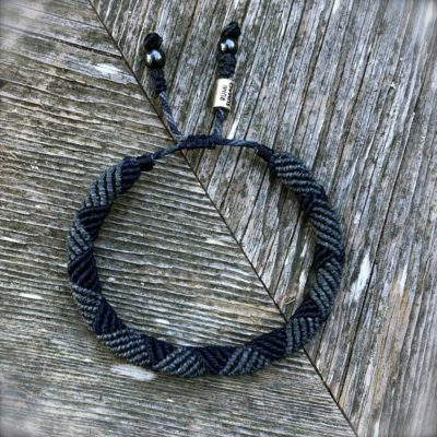 Mens rope bracelet blue by designer Coco Paniora Salinas of RUMI SUMAQ. Handmade art jewelry from Martha's Vineyard.