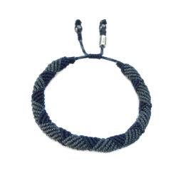 Mens rope bracelet blue by designer Coco Paniora Salinas of RUMI SUMAQ. Handmade art jewelry from Martha's Vineyard.