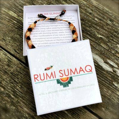 Mens rope bracelet orange and brown by designer Coco Paniora Salinas of RUMI SUMAQ. Handmade art jewelry from Martha's Vineyard.
