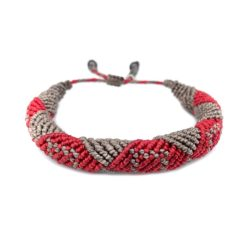 Mens Rope Bracelet Red and Tan Hand-Knotted Waxed Cord by RUMI SUMAQ. Made on Martha's Vineyard.