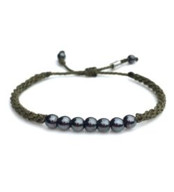 Rope Bracelet Olive with Hematite Stones: Rumi Sumaq Pull Cord Adjustable String Rope Surfer Bracelets