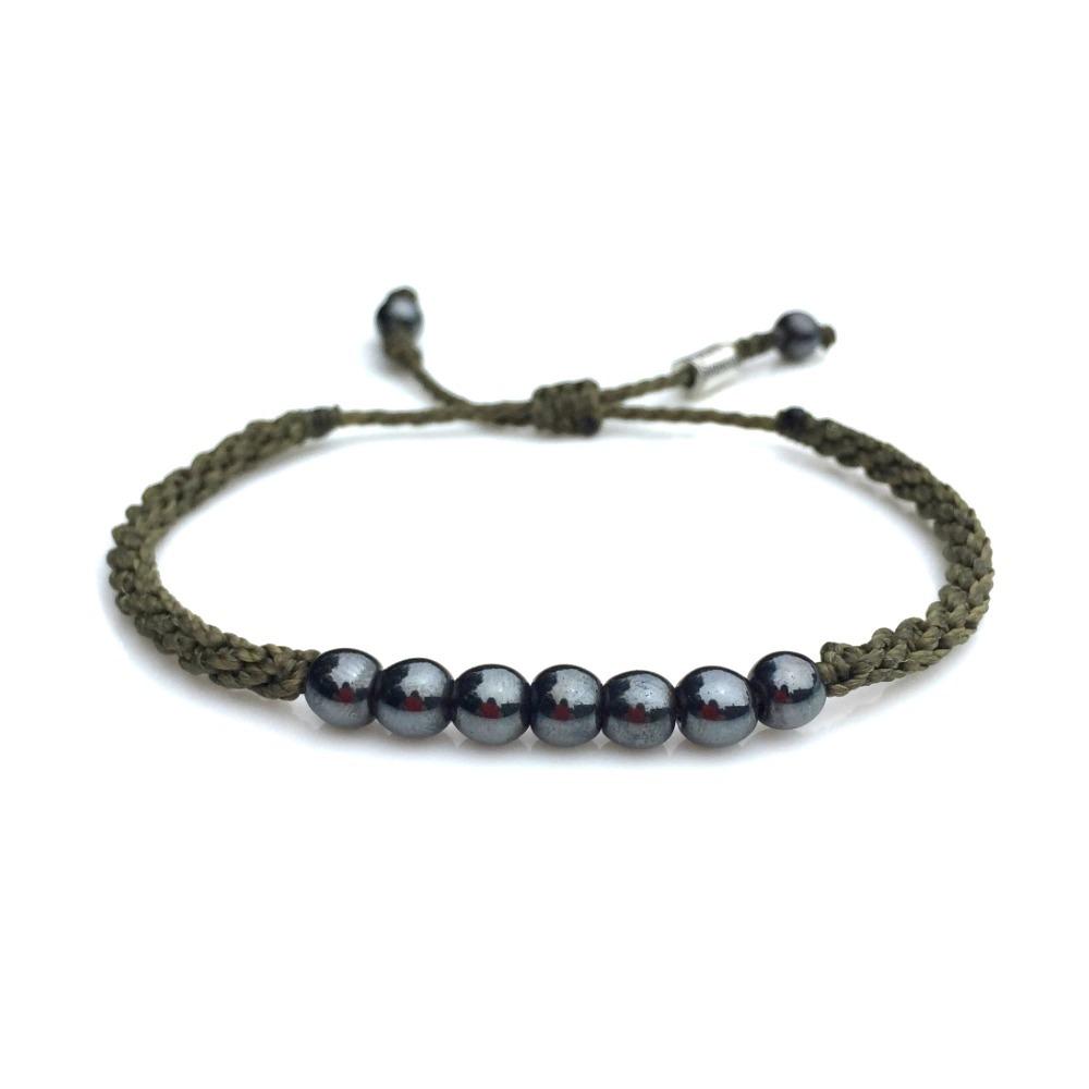 Rope Bracelet Olive With Hemae Stones Rumi Sumaq Pull Cord Adjule String Surfer Bracelets