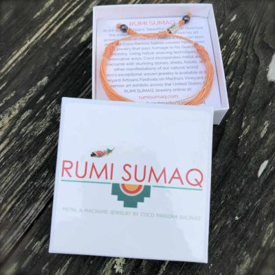Peach awareness bracelet for uterine cancer, endometrial cancer, invisible illness awareness by RUMI SUMAQ jewelry. Handmade on Martha's Vineyard.
