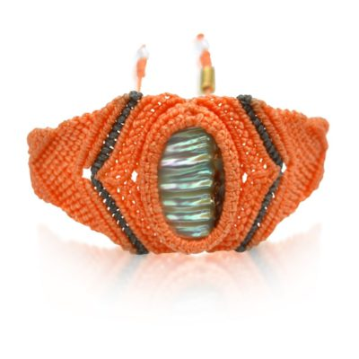 Peach macrame bracelet with shell: RUMI SUMAQ macrame jewelry handmade on the island of Martha's Vineyard