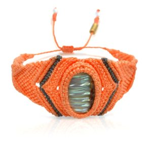 Peach macrame bracelet: RUMI SUMAQ macrame jewelry handmade on the island of Martha's Vineyard