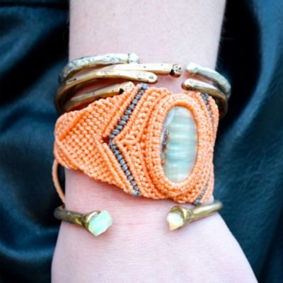 each macrame bracelet with shell: RUMI SUMAQ macrame jewelry handmade on the island of Martha's Vineyard