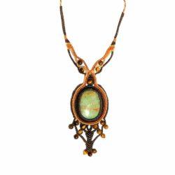 Peruvian Opal Macrame Necklace Hand-Knotted by Designer Coco Paniora Salinas of RUMI SUMAQ Jewelry