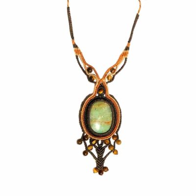 Peruvian Opal Macrame Necklace Hand-Knotted by Designer Coco Paniora Salinas of RUMI SUMAQ Jewelry