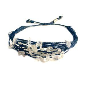 Quartz Stone Navy String Bracelet : RUMI SUMAQ woven knot jewelry handmade on Martha's Vineyard by designer Coco Paniora Salinas