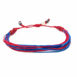 Red Blue Awareness Bracelet for Congenital Heart Disease CHD and Hypoplastic Heart Syndrome by RUMI SUMAQ. Handmade awareness jewelry from Martha's Vineyard.