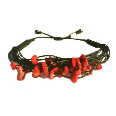 Red coral bracelet: RUMI SUMAQ woven jewelry handmade on Martha's Vineyard