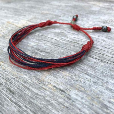 Red Navy String Bracelet for Men and Women by RUMI SUMAQ | Handmade on Martha's Vineyard