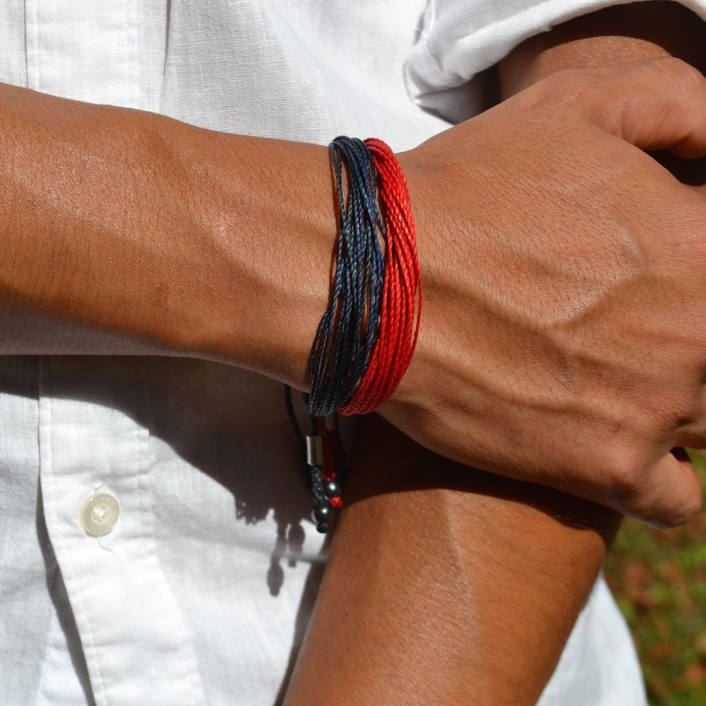 Navy and Red String Bracelets by Rumi Sumaq