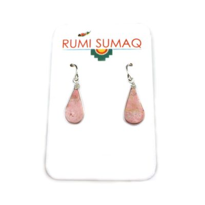 Rhodonite silver earrings pink stone jewelry by RUMI SUMAQ