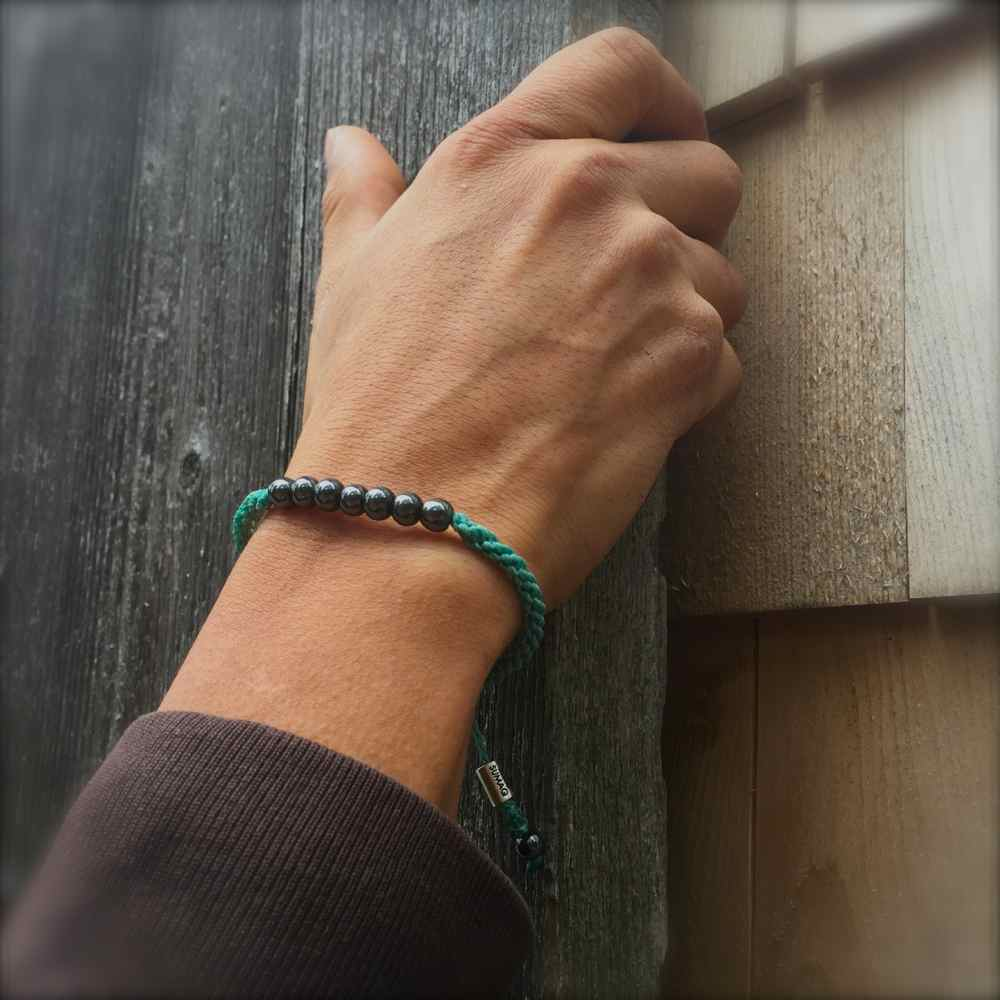 Rope Bracelet Aqua with Beaded Hematite Stones: Handmade on Martha's Vineyard Sailor Surfer Knot Surfer Bracelets by Rumi Sumaq