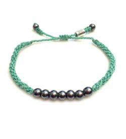 Rope Bracelet Aqua with Beaded Hematite Stones: Handmade on Martha's Vineyard Sailor Surfer Bracelets by Rumi Sumaq