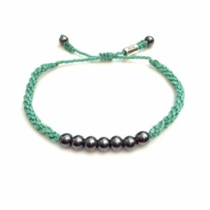 Rope Bracelet Aqua with Beaded Hematite Stones: Handmade on Martha's Vineyard Sailor Surfer Bracelets by Rumi Sumaq