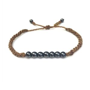 Rope Bracelet Brown with Hematite Stones - Handmade Sailor Beach Surfer Bracelets by Rumi Sumaq