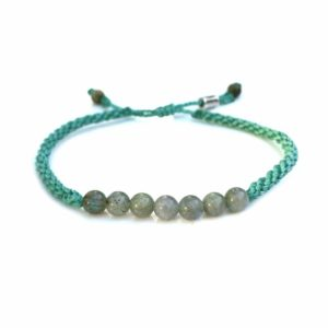 Rope Bracelet Labradorite Stones in Aqua: Handmade on Martha's Vineyard Beach Rope Surfer Bracelets