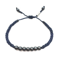 Rope Bracelet Navy with Hematite Stones for Men and Women: RUMI SUMAQ sailor and surfer bracelets handmade on Martha's Vineyard