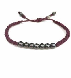 Rope Bracelet Plum Purple with Hematite Stones - Handmade Sailor Beach Surfer Bracelets by Rumi Sumaq