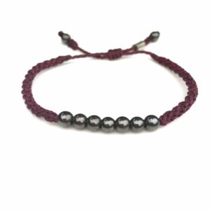 Rope Bracelet Plum Purple with Hematite Stones - Handmade Sailor Beach Surfer Bracelets by Rumi Sumaq