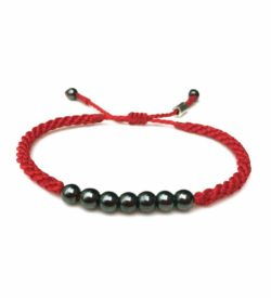 Rope Bracelet Red with Hematite Stones - Handmade Sailor Beach Surfer Bracelets by Rumi Sumaq