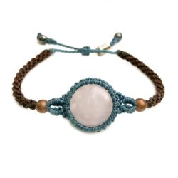 Rose Quartz Bracelet Macrame Hand-Knotted Waxed Cord in Blue and Brown with Copper Beads and Hematite Stones by Designer Coco Paniora Salinas of RUMI SUMAQ Jewelry