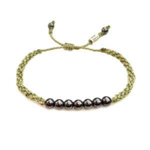 Rope Bracelet Sage Green with Hematite Stones: Rumi Sumaq Sailor and Surfer Bracelets Handmade on Martha's Vineyard