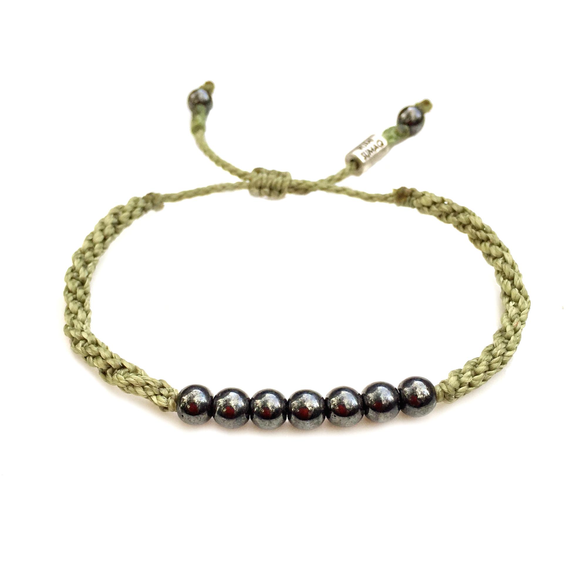 Rope Bracelet Sage Green with Hematite Stones: Rumi Sumaq Sailor and Surfer Bracelets Handmade on Martha's Vineyard