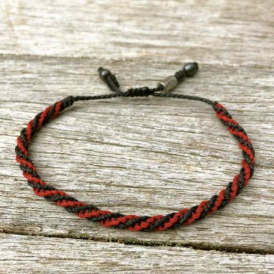 RUMI SUMAQ Sailor Rope Bracelet Black Red. Handmade on Martha's Vineyard.