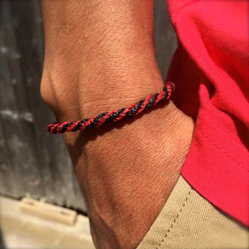Sailor Rope Bracelet Black Red by Rumi Sumaq