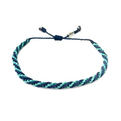 Sailor rope bracelet navy aqua - RUMI SUMAQ nautical rope jewelry handcrafted on the beautiful island of Martha's Vineyard