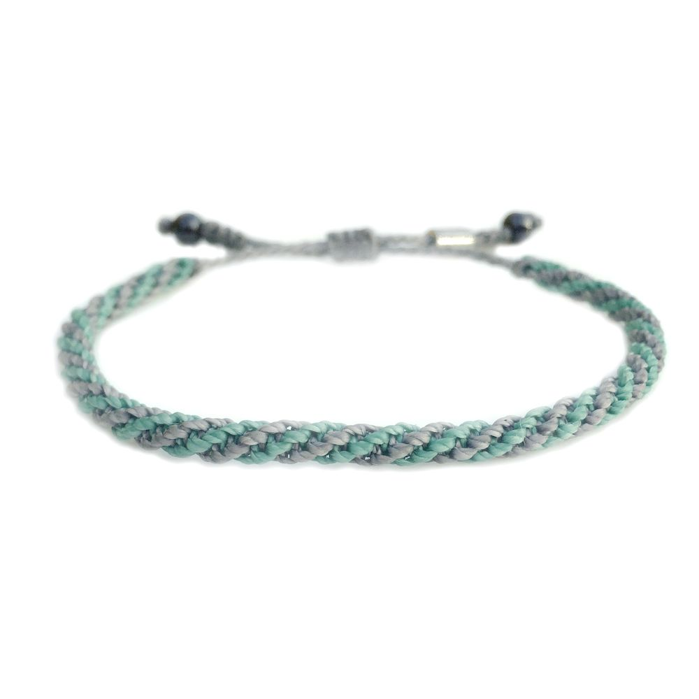 Sailor Rope Bracelet In Teal And Grey