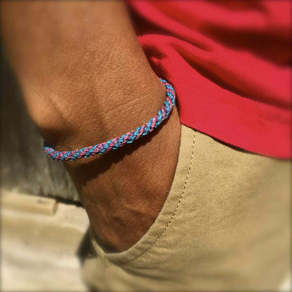 Sailor Rope Bracelet Teal Blue Violet: Rumi Sumaq Sailor and Surfer Bracelets Handmade on Martha's Vineyard