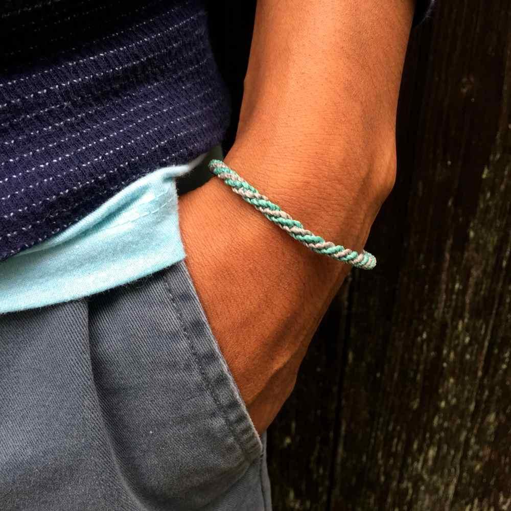 Sailor Rope Bracelet in Aqua Grey: Handmade on Martha's Vineyard Knotted Waxed Cord Surfer and Sailor Bracelets