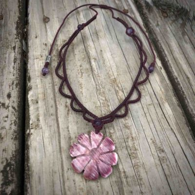 Shell Flower Necklace with Purple Spiny Oyster Shell and Hand-Knotted Macrame | RUMI SUMAQ Jewelry Handmade on Martha's Vineyard by Designer Coco Paniora Salinas