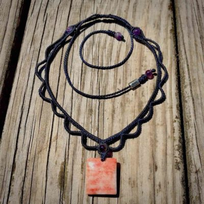 Shell Necklace with Spiny Oyster Shell and Navy Cord | RUMI SUMAQ Summer Macrame Necklaces