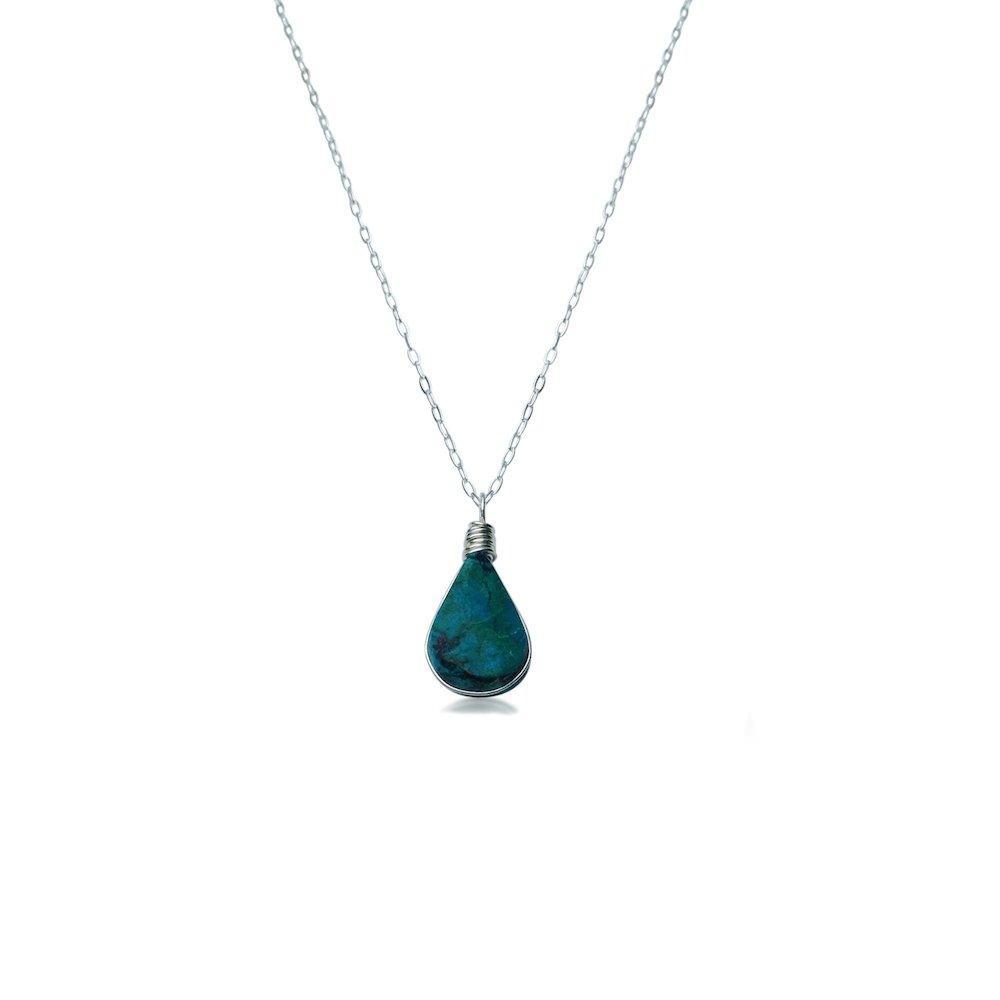 Sterling Silver Chrysocolla necklace by designer Coco Paniora Salinas of RUMI SUMAQ. Handmade jewelry from the beautiful island of Martha's Vineyard.